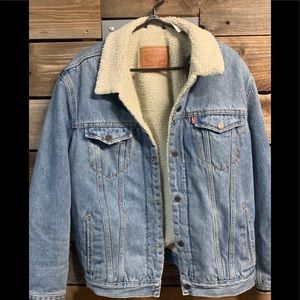 Vintage Levi's Sherpa Acid Wash Denim Jacket 1970s